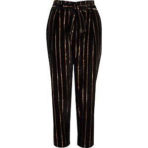 Black metallic stripe tied tapered pants