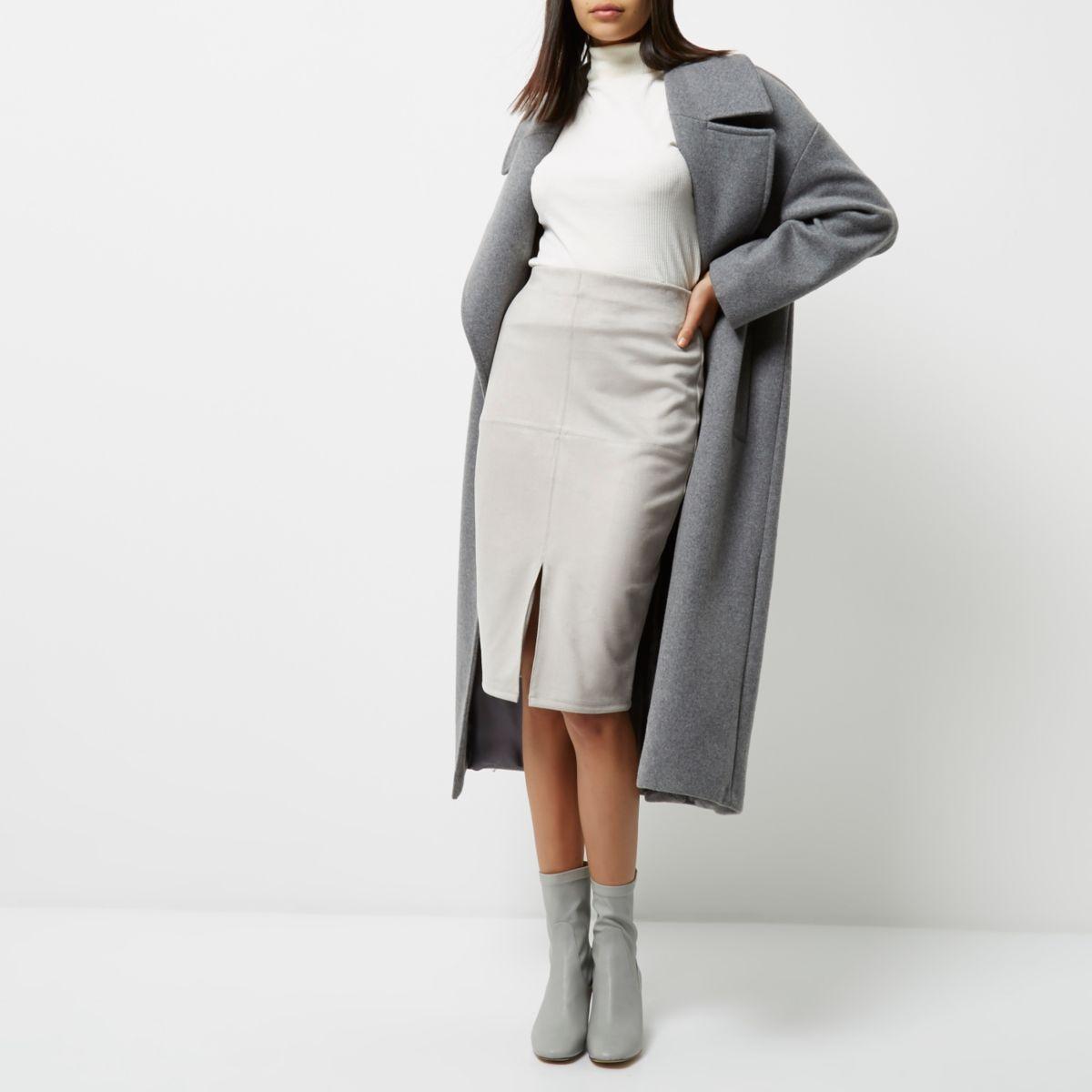 Light grey faux suede pencil skirt