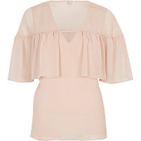 Blush pink frill cape top