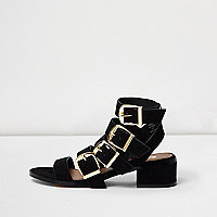 Black multi buckle strap sandal