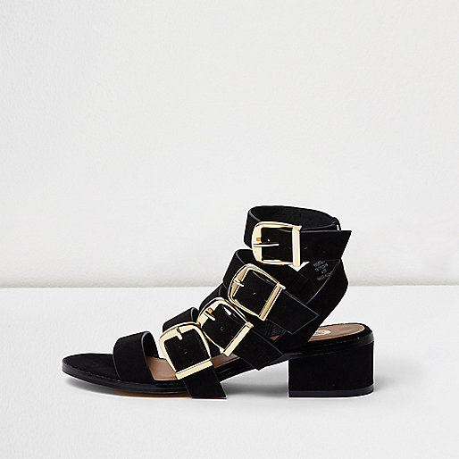 Black multi buckle strap sandal