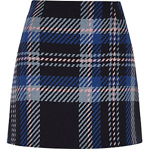 Blue check mini skirt