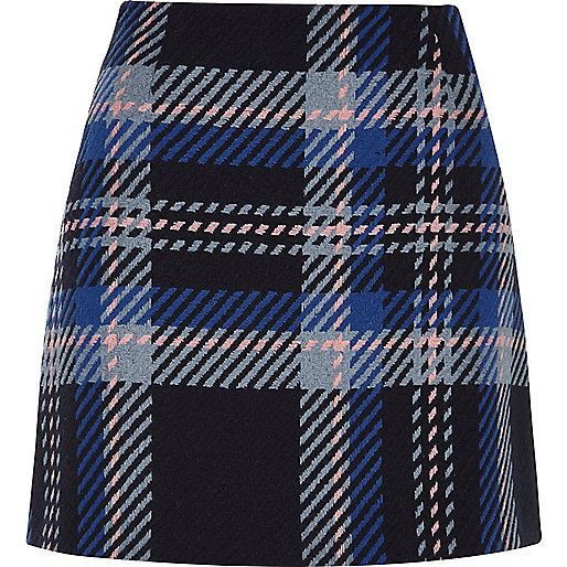 Image result for river island blue check mini skirt