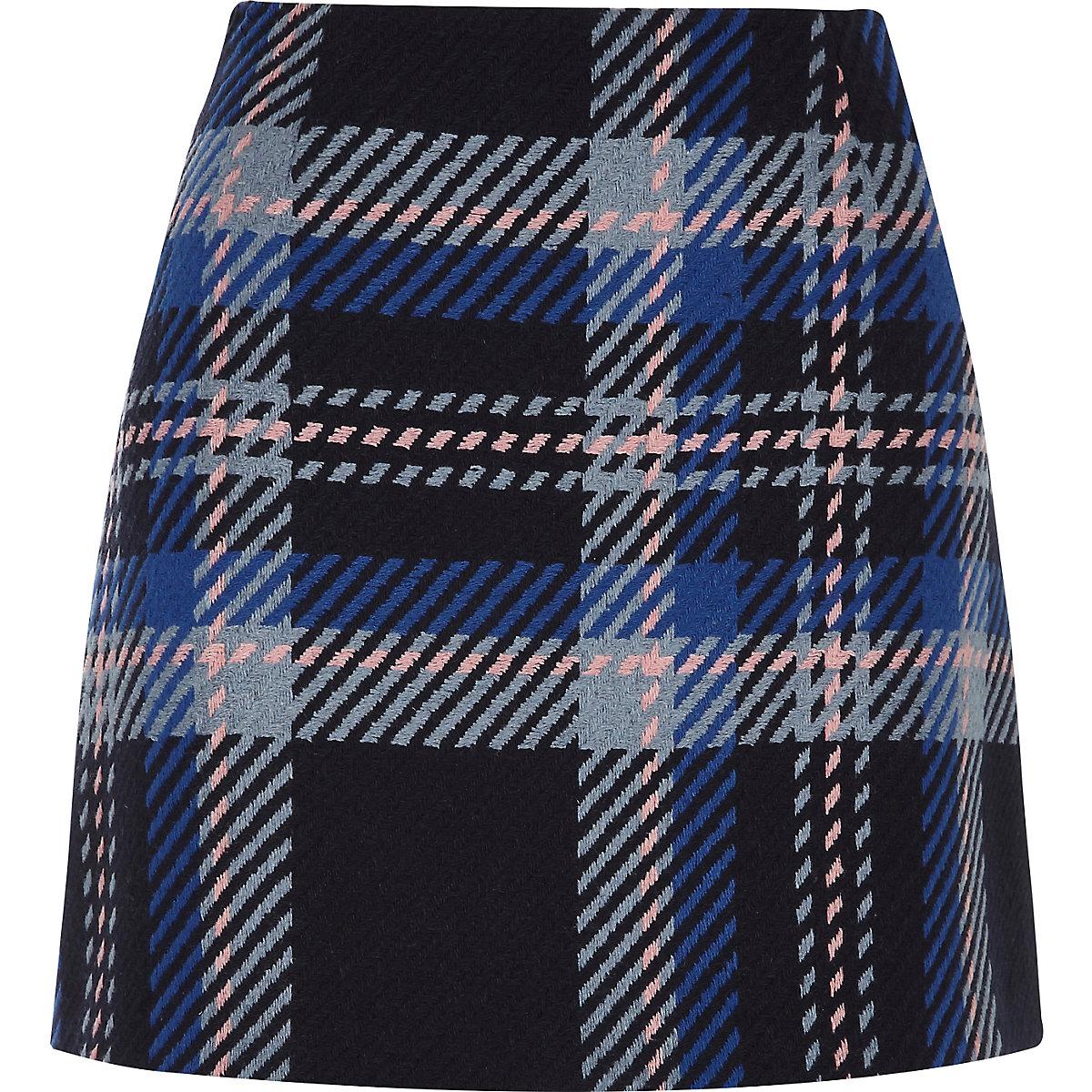 Blue check mini skirt