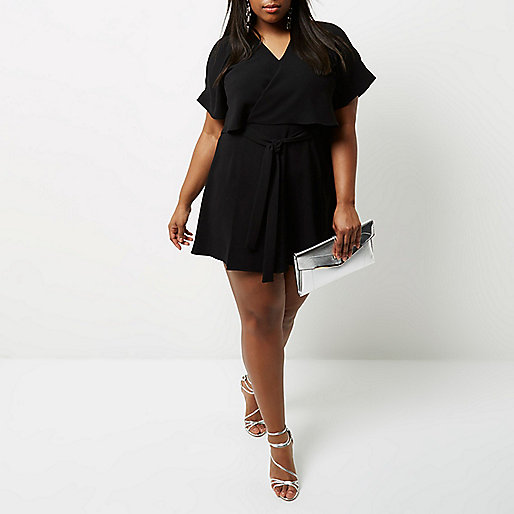 Plus black cold shoulder frill tea dress