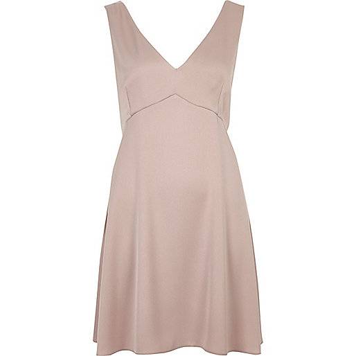 Blush pink satin plunge mini dress