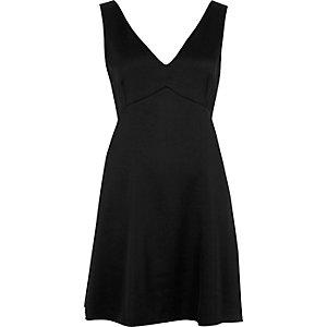 Black satin plunge mini dress