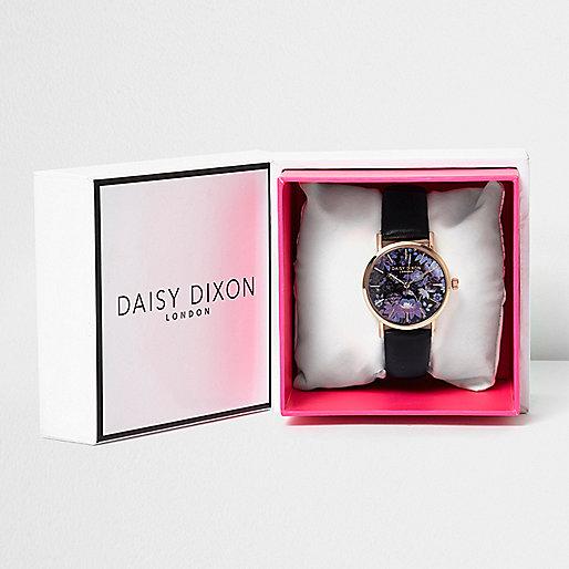 Montre Daisy Dixon noire avec cadran à fleurs