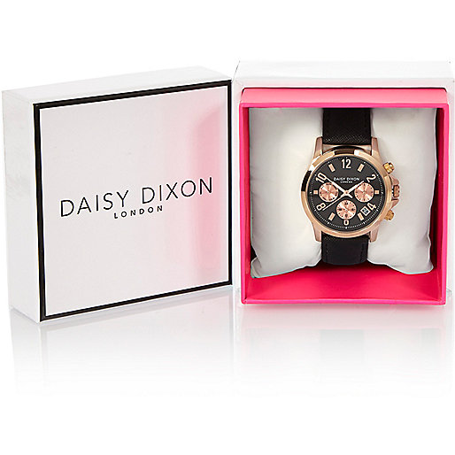 Daisy DIxon black textured strap watch