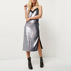Pink and blue sequin midi slip dress