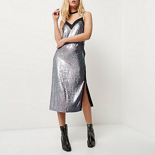 Pink and blue sequin midi slip dress