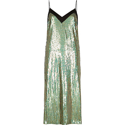 Green sequin midi slip dress