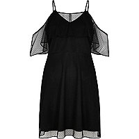 Black dotted mesh cold shoulder dress