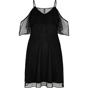 Schwarzes, gepunktetes Kleid mit Schulterausschnitten