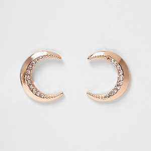 Rose gold tone moon stud earrings