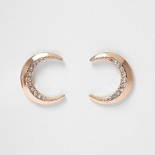 Clous d'oreilles doré rose motif lune