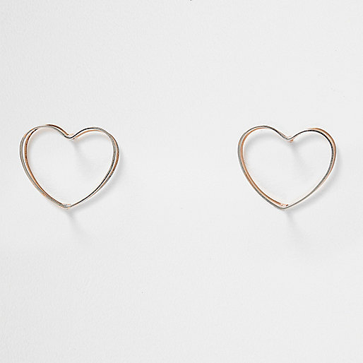 Silver and rose gold tone heart earrings