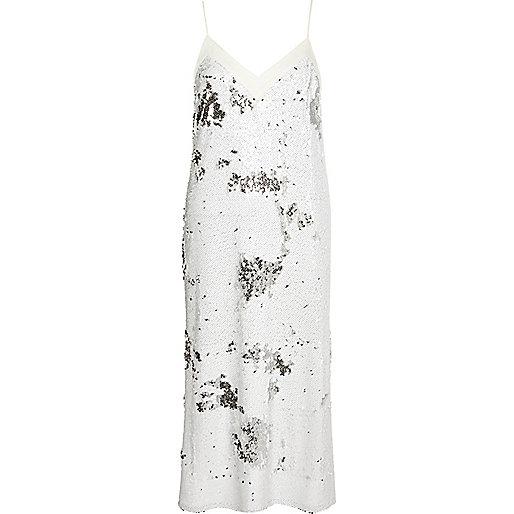 White sequin midi slip dress