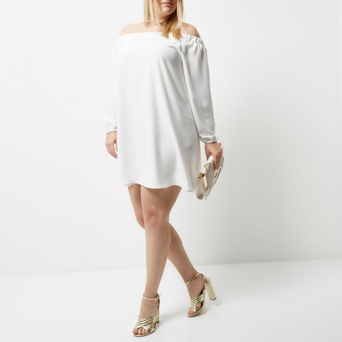 Plus – Swing-Kleid in Creme
