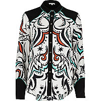 Cream western print panel shirt