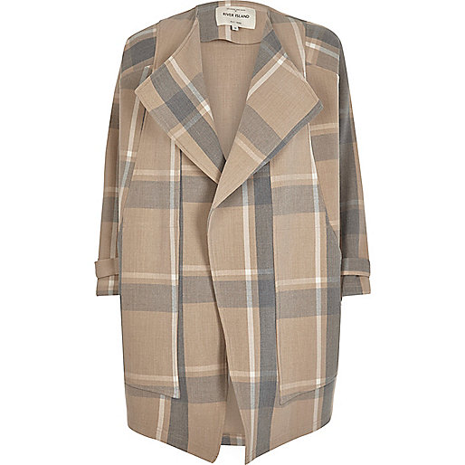 Cream check fallaway jacket