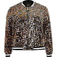 Plus gold sequin bomber jacket