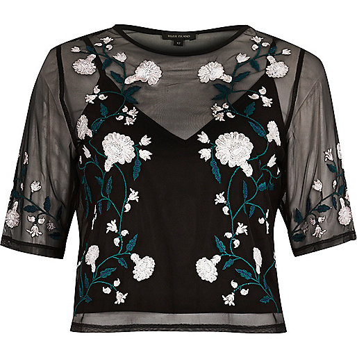 Black floral embroidered crop top