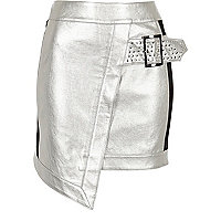 Silver faux leather studded wrap mini skirt