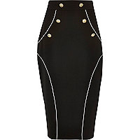 Black western button pencil skirt