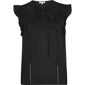 Black lace bib frill top