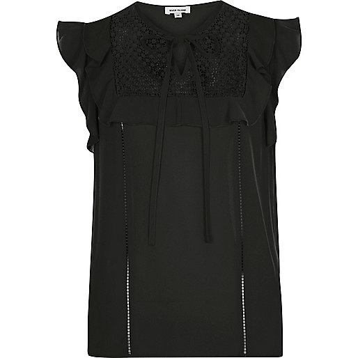 Black lace bib frill top