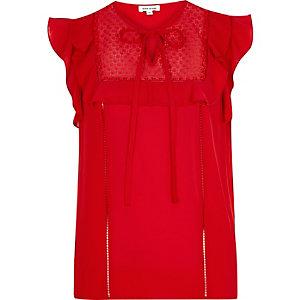 Red lace bib frill top