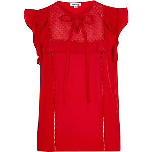 Red lace bib frill top