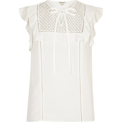 Cream lace bib frill top