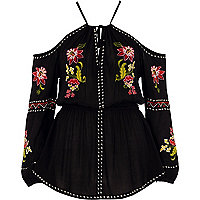 Black floral embroidered cold shoulder top