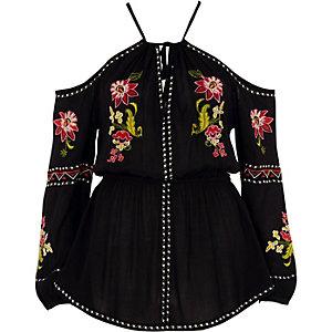 Black floral embroidered cold shoulder top