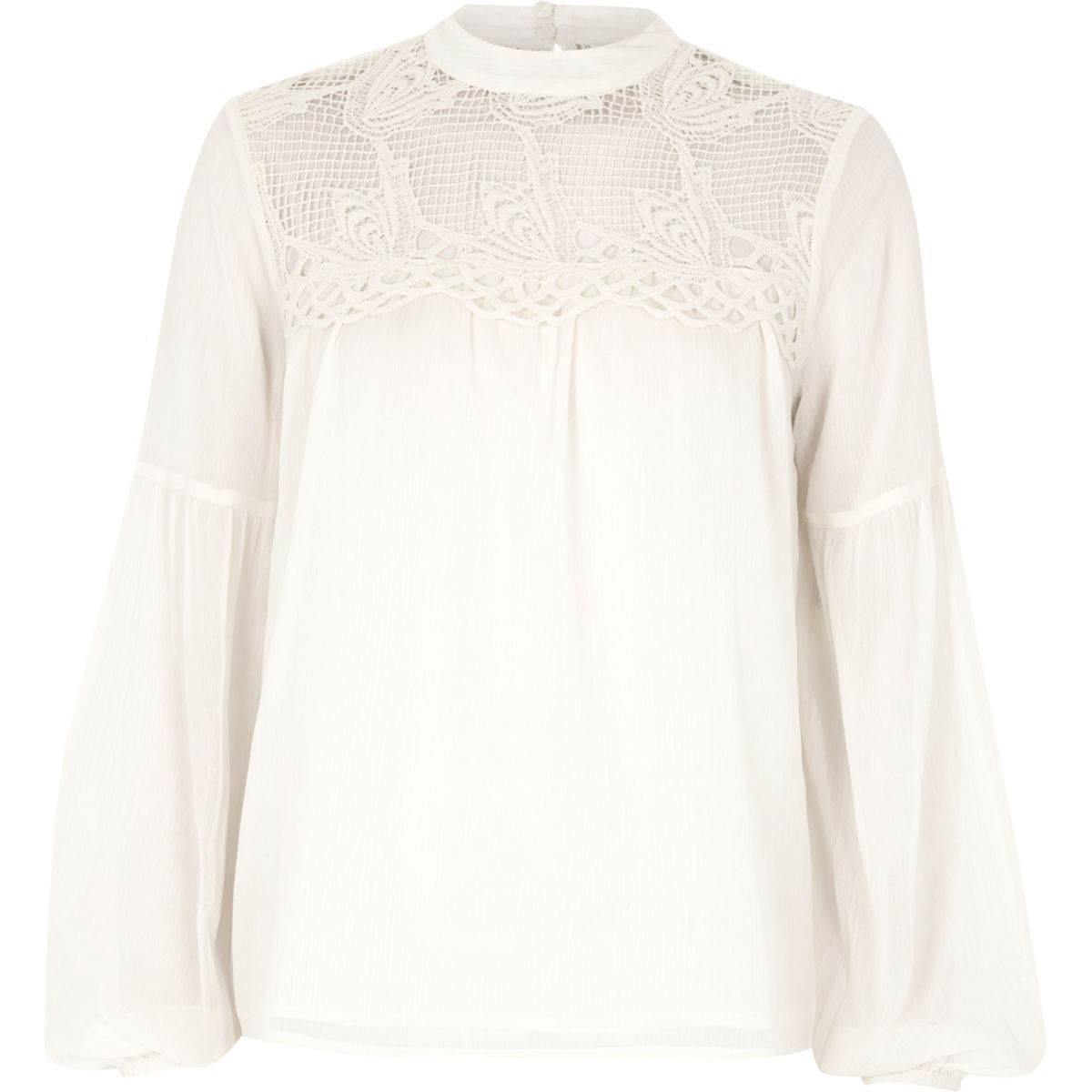 Cream cutwork bell sleeve blouse