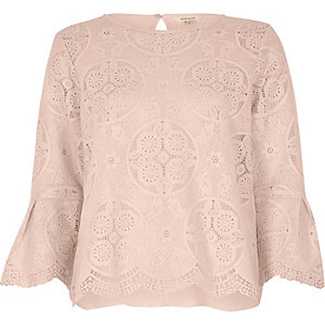 Pink scallop hem lace top