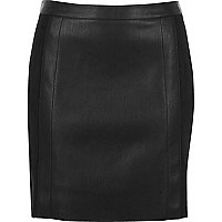 Black leather look suede panel mini skirt
