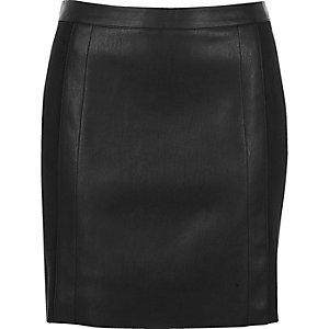 Black leather look suede panel mini skirt