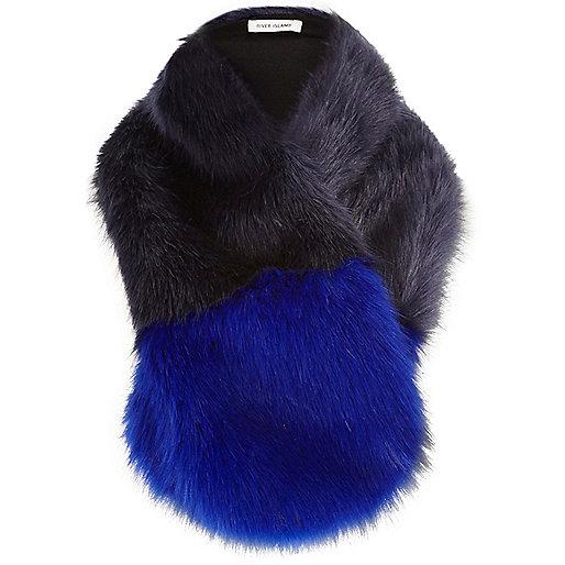 Blue colour block faux fur tippet