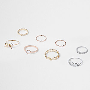 Mixed tone love rings pack