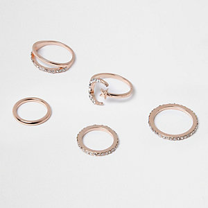 Rose gold tone moon ring pack