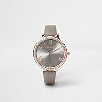 Grey rhinestone embellished watch