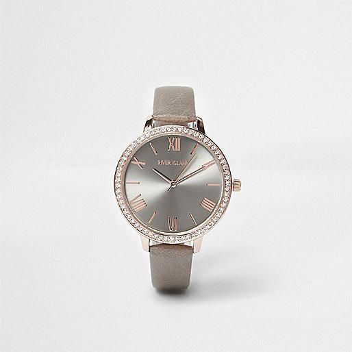 Grey diamante embellished watch