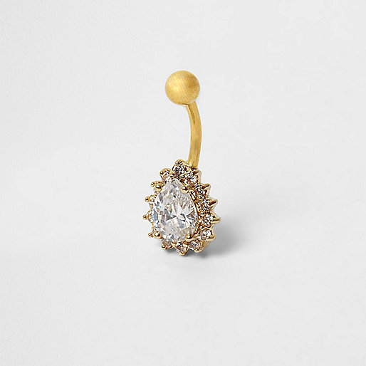 Gold tone floral teardrop belly bar