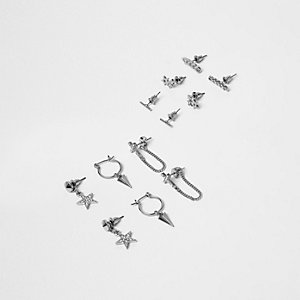 Silver tone grunge earring pack