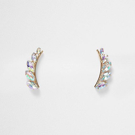 Bijoux d'oreilles dorés motif feuille à ornements
