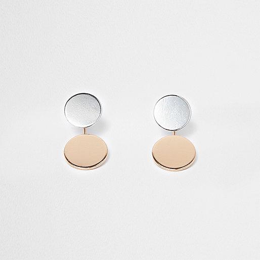 Boucles d'oreilles à disques argentés et doré rose