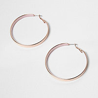 Rose gold tone thick hoop earrings